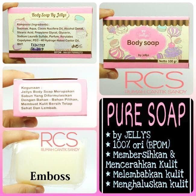 Pure Body Soap by Jellys BPOM Sabun Pemutih - 100 gram - 1pcIDR35999. Rp 37.000